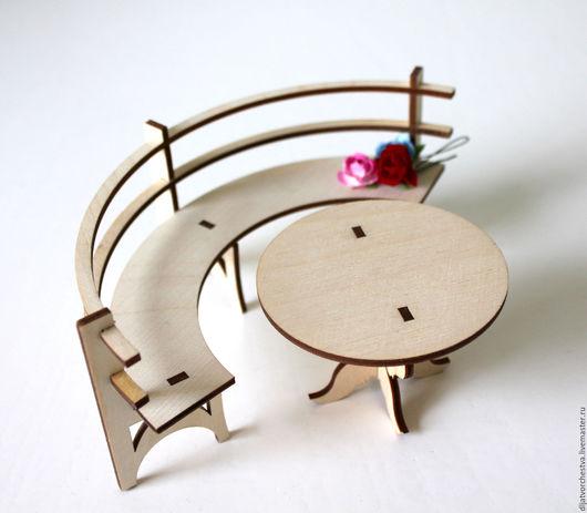Кукольный дом ручной работы. Ярмарка Мастеров - ручная работа. Купить Лавка полукруглая. Handmade. Мебель для кухни, сиденье, стулья