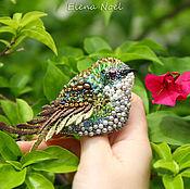 Украшения ручной работы. Ярмарка Мастеров - ручная работа Колибри зеленая пташка, птичка брошь вышивка бисером. Handmade.