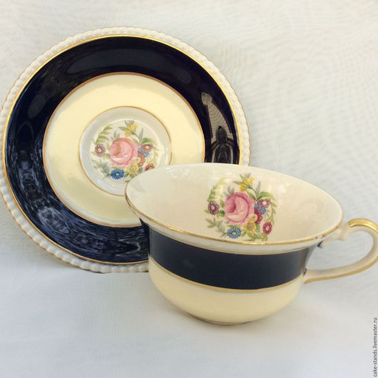 Винтажная посуда. Ярмарка Мастеров - ручная работа. Купить Кобальтовые Чайные пары FONDEVILLE AMBASSADOR, Англия. Handmade. Тёмно-синий