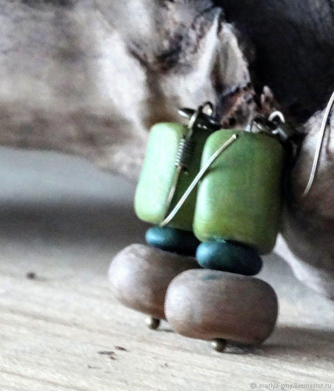 Серьги: Зеленые серьги в стиле бохо, Серьги классические, Санкт-Петербург,  Фото №1