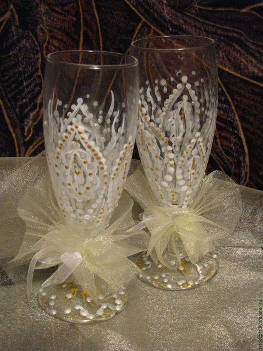 Подарки на свадьбу ручной работы. Ярмарка Мастеров - ручная работа. Купить Свадебные бокалы. Handmade. Белый, бокалы для свадьбы