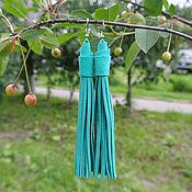 Бирюзово-Мятные Серьги из Замши (Indiana Tiffany)