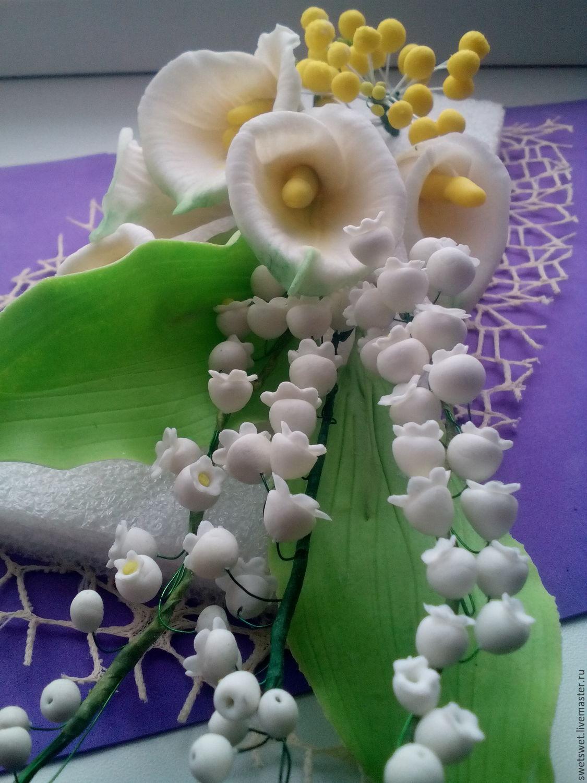Композиции цветов из мастики фото