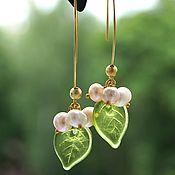 Украшения handmade. Livemaster - original item Earrings and pendant lilies with natural pearls set in gold. Handmade.