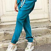 Одежда ручной работы. Ярмарка Мастеров - ручная работа Брюки из шелка Silk Turquoise. Handmade.