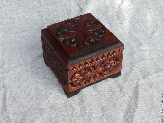 Шкатулки ручной работы. Ярмарка Мастеров - ручная работа. Купить Шкатулка деревянная резная (2). Handmade. Коричневый, резьба по дереву