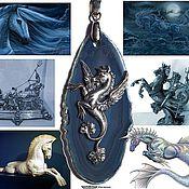 Украшения ручной работы. Ярмарка Мастеров - ручная работа Кулон ГИППОКАМП (морской конь), синий агат, (Год Лошади). Handmade.