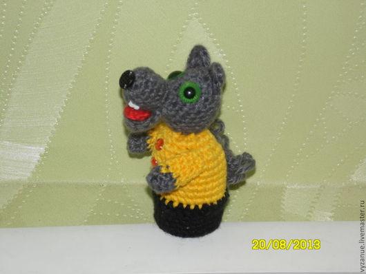 Кукольный театр ручной работы. Ярмарка Мастеров - ручная работа. Купить Волк пальчиковая игрушка. Handmade. Вязание на заказ