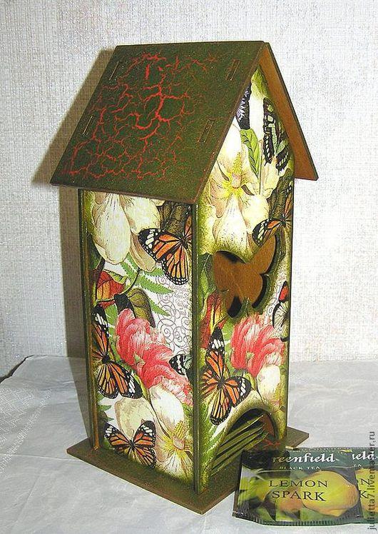 """Кухня ручной работы. Ярмарка Мастеров - ручная работа. Купить Чайный домик """"Бабочки в саду"""". Handmade. Домик, чайная коробка"""