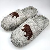 """Тапочки ручной работы. Ярмарка Мастеров - ручная работа Тапочки """"Медведи"""" валяные из натуральной овечьей шерсти. Handmade."""