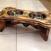 Миска для питомца ручной работы. Ярмарка Мастеров - ручная работа Подставка под миски с кормом и водой для собак.. Handmade.