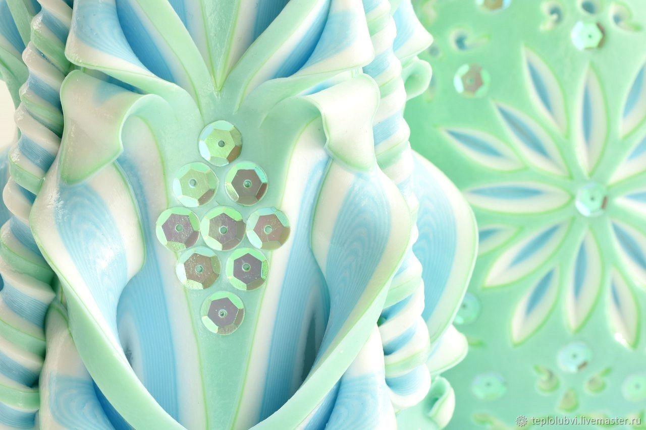 Подарки для влюбленных ручной работы. Ярмарка Мастеров - ручная работа. Купить Резные свечи набор - мятный голубой - мятные пайетки. Handmade.