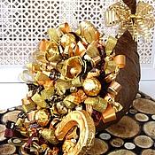 Подарки к праздникам ручной работы. Ярмарка Мастеров - ручная работа Рог изобилия  Композиция с конфетами. Handmade.