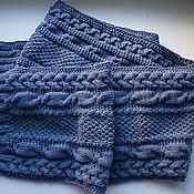 Аксессуары handmade. Livemaster - original item Warm soft scarf of very soft fur, grey-blue, pure wool. Handmade.