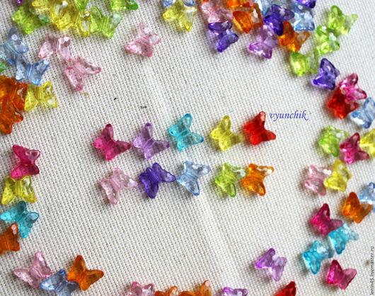 Для украшений ручной работы. Ярмарка Мастеров - ручная работа. Купить Бусины бабочки 10 цветов. Handmade. Бусины акриловые