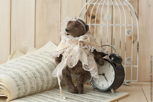 Мишки Тедди ручной работы. Ярмарка Мастеров - ручная работа. Купить Мишка девочка, винтаж. Handmade. Коричневый, мишки тедди