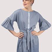 Одежда handmade. Livemaster - original item Dress shirt blue cotton with flounces. Handmade.
