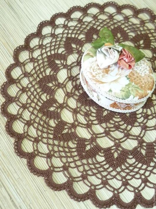 """Текстиль, ковры ручной работы. Ярмарка Мастеров - ручная работа. Купить Салфетка крючком """"Романтика"""". Handmade. Коричневый, шоколадный цвет"""