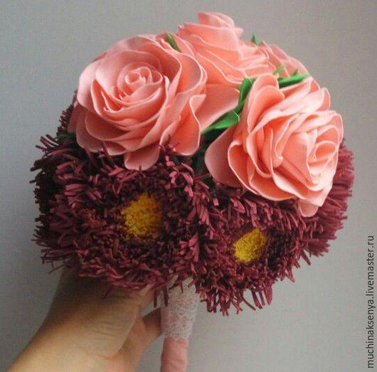 """Свадебные цветы ручной работы. Ярмарка Мастеров - ручная работа. Купить Букет невесты """"Розы и астры"""". Handmade. Бордовый, астра"""