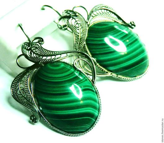 """Серьги ручной работы. Ярмарка Мастеров - ручная работа. Купить Серьги """"ПАВА"""", малахит.. Handmade. Зеленый, скань, ювелирные камни"""
