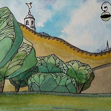 Картины и панно ручной работы. Ярмарка Мастеров - ручная работа Картина городской пейзаж акварелью Тобольск Дыхание осени Стилизация. Handmade.