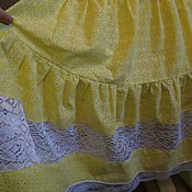 Одежда ручной работы. Ярмарка Мастеров - ручная работа Юбка хлопок лимонная. Handmade.