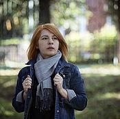 Домотканый шарф серо-голубой
