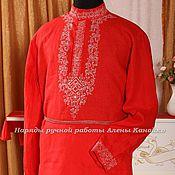 Русский стиль ручной работы. Ярмарка Мастеров - ручная работа Мужская рубаха красная. Handmade.