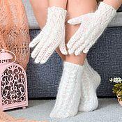 Аксессуары handmade. Livemaster - original item Socks: New!Openwork down set socks and gloves. Handmade.