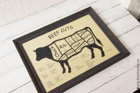 Животные ручной работы. Ярмарка Мастеров - ручная работа. Купить Карта стейков. Handmade. Черный, кухня, прованс, кулинарный, дерево