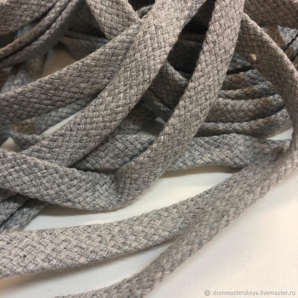Flat cord 10mm h / b TSV. gray, Cords, Moscow,  Фото №1
