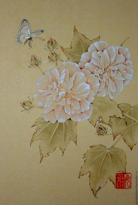 китайская живопись     картина нежность     картина цветы акварелью     картина в подарок девушке     романтичная картина     картина бабочка     домашний интерьер     красивая картина     дор