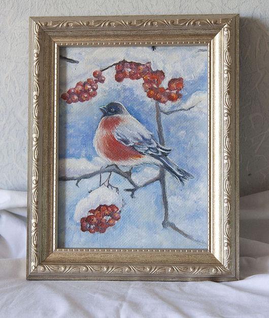 """Животные ручной работы. Ярмарка Мастеров - ручная работа. Купить Картина """"снегирь"""". Handmade. Снегирь, картина, картина маслом, холст"""