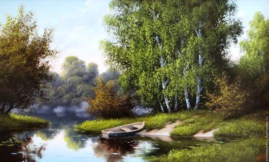 """Пейзаж ручной работы. Ярмарка Мастеров - ручная работа. Купить """"Доброе утро"""". Handmade. Комбинированный, картина маслом, пейзаж"""