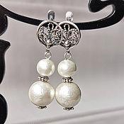 Украшения handmade. Livemaster - original item Women`s pearl earrings cotton white. Handmade.