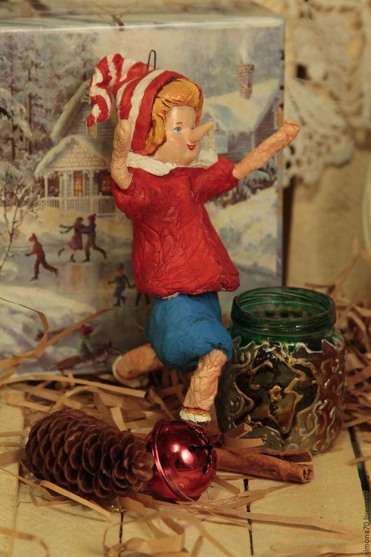 Новый год 2017 ручной работы. Ярмарка Мастеров - ручная работа. Купить Ватная игрушка. Буратино.. Handmade. Ярко-красный, сказка