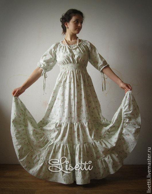 Платья ручной работы. Ярмарка Мастеров - ручная работа. Купить Яблоневый цвет - длинное платье. Handmade. Салатовый, летнее платье