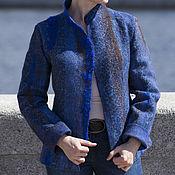 """Одежда ручной работы. Ярмарка Мастеров - ручная работа Жакет валяный куртка валяная пальто валяное """"Sapphire dzhunglii"""". Handmade."""