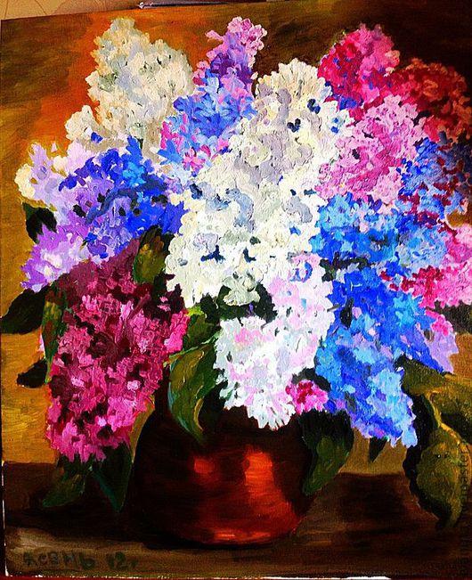 """Картины цветов ручной работы. Ярмарка Мастеров - ручная работа. Купить Картина маслом """"Сирень"""". Handmade. Картина маслом, цветы"""