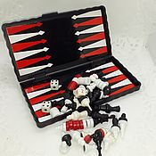 Винтаж handmade. Livemaster - original item Vintage set Checkers Chess Backgammon Magnetic. Handmade.