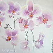 """Картины и панно ручной работы. Ярмарка Мастеров - ручная работа Акварель """"Сиреневые орхидеи"""". Handmade."""