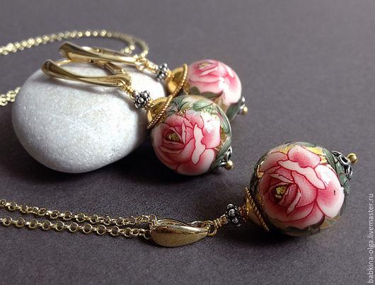 Комплекты украшений ручной работы. Ярмарка Мастеров - ручная работа. Купить Комплект Розовые розы, Tensha, позолота. Handmade.