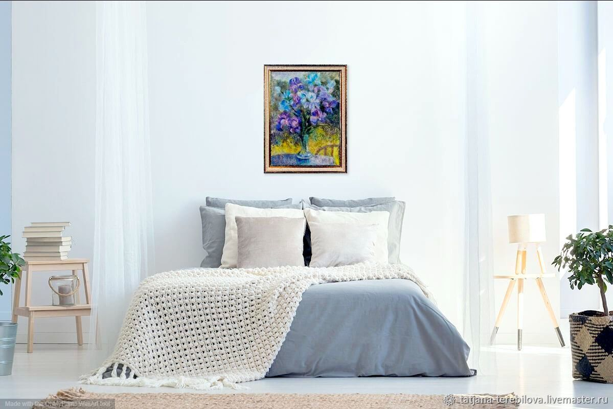 Painting of wool Irises in a vase, Pictures, Narva,  Фото №1