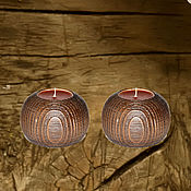 Для дома и интерьера handmade. Livemaster - original item Wooden textured candlesticks made of pine wood-2 pcs. WC18. Handmade.