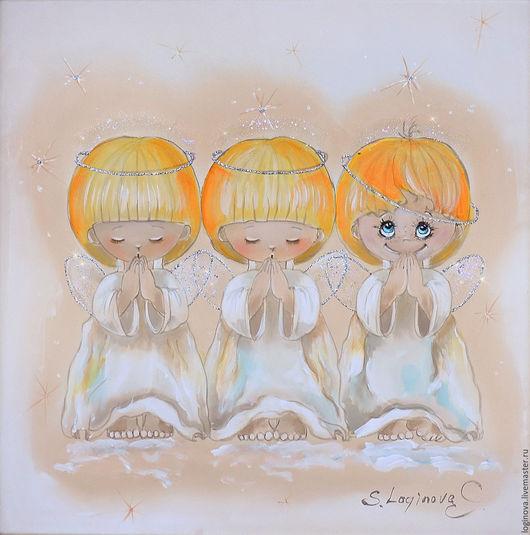Фэнтези ручной работы. Ярмарка Мастеров - ручная работа. Купить Почти идеальный-картина на шелке с ангелами. Handmade. Бежевый