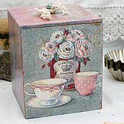 Банки ручной работы. Ярмарка Мастеров - ручная работа Короб с крышкой Уютное чаепитие декупаж. Handmade.