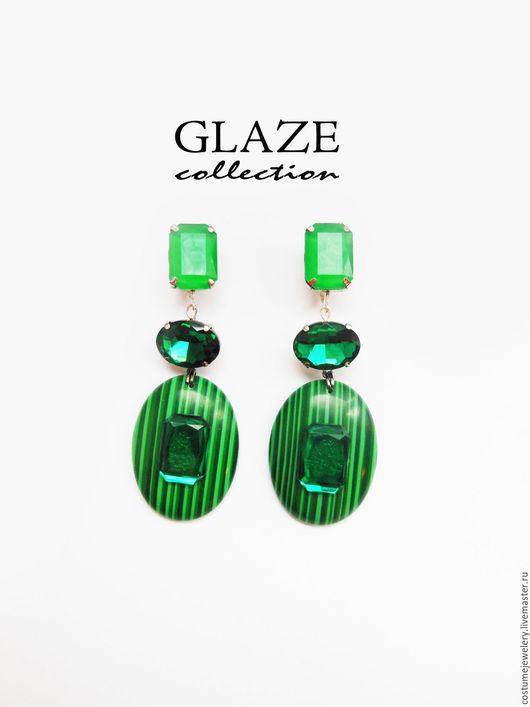 """Серьги ручной работы. Ярмарка Мастеров - ручная работа. Купить Серьги """"Glaze"""" 15. Handmade. Тёмно-зелёный, малахитовые серьги"""