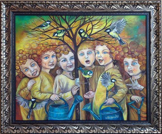 Шесть ангелов-садовников собрались вместе, чтоб посадить деревце. Они улыбаются, поют, дурачатся, играют с птицами и щедро поливают свой саженец, чтобы он рос крепким на радость миру...