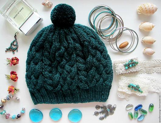 """Шапки ручной работы. Ярмарка Мастеров - ручная работа. Купить Вязаная шапка с косами """"Хвойный бальзам"""". Handmade. Тёмно-зелёный"""