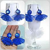 Украшения handmade. Livemaster - original item Blue earrings made of tulle and opal beads. Handmade.